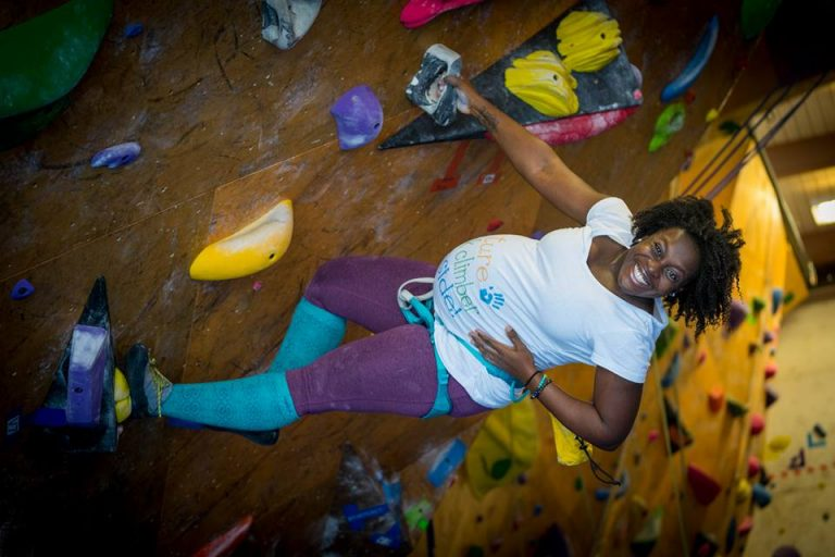 bouldering while 9 months pregnant